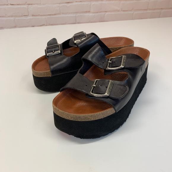 Black Platform Footbed Sandals 65